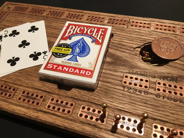 Solid Oak Cribbage Board with Copper Tile Inlay