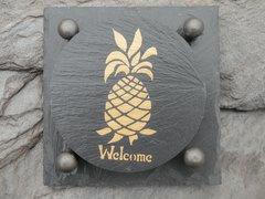 Slate Coaster Gift Set  --    WELCOME PINEAPPLE