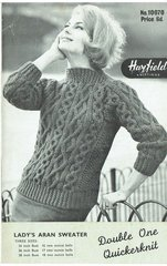 Hayfield 10070 ladies aran sweater jumper vintage knitting pattern