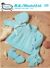 B K Wools 239 baby matinee coat set vintage knitting pattern