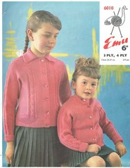 Emu 6010 baby and childrens cardigan vintage knitting pattern