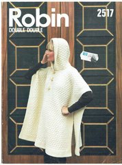 Robin 2517 ladies poncho vintage knitting pattern