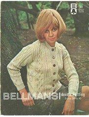 Bellmans 526 ladies aran cardigan vintage knitting pattern