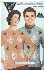 Bestway 3193 ladies mens snowflake jumper vintage knitting pattern