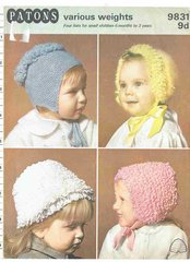 Patons 9831 baby loopy hats bonnets vintage knitting pattern
