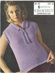 Bairnswear 332 ladies sleeveless jumper top vintage crochet pattern