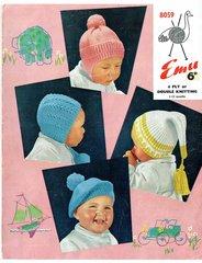 Emu 8059 baby hat bonnet vintage knitting pattern