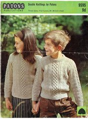 Patons 9595 childrens aran style jumper vintage knitting pattern