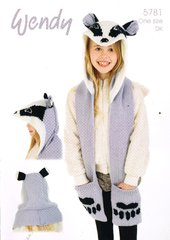 Wendy 5781 girls scarf with hood knitting pattern
