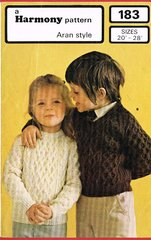 Harmony 183 aran style childrens jumper vintage knitting pattern