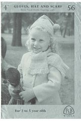 Patons 56 baby hat scarf vintage knitting pattern