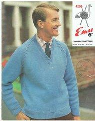 Emu 4206 mens jumper vintage knitting pattern