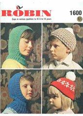 Robin 1600 childrens hat balaclava vintage knitting pattern