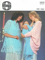 Sirdar 5939 crochet and knit shawls vintage knitting and crochet pattern