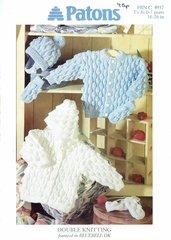 Patons 4937 baby cardigan hoodie vintage knitting pattern
