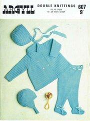 Argyll 607 baby pram suit vintage knitting pattern