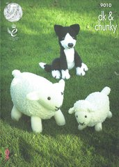 King Cole 9010 dog and sheep toy knitting pattern