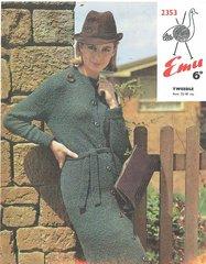 Emu 2353 ladies dress vintage knitting pattern