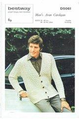 Bestway 5061 mens aran cardigan vintage knitting pattern
