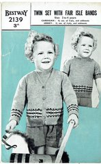 Bestway 2139 twin set with fairisle bands cardigan vintage knitting pattern