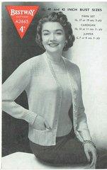 Bestway 2665 ladies twinset vintage knitting pattern