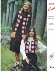 Emu 2878 ladies granny square waistcoat vintage crochet pattern
