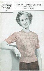 Bestway 2030 ladies leaf patterned jumper vintage knitting pattern
