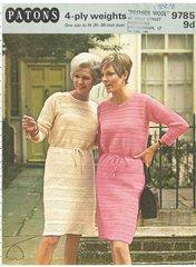 Patons 9785 ladies dress vintage crochet pattern