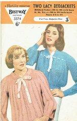 Bestway 3374 ladies lacy bedjacket vintage knitting pattern