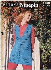 Patons 6268 ladies waistcoat vintage crochet pattern
