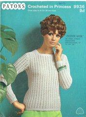 Patons 9936 ladies jumper vintage crochet pattern