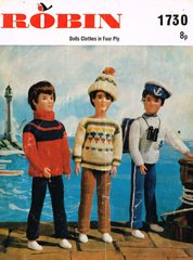 Robin 1730 boy dolls clothes vintage knitting pattern