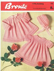 Bronte 715 baby matinee coat and dress set vintage knitting pattern