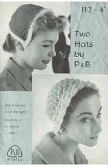 Patons 112 ladies hats vintage knitting and crochet pattern