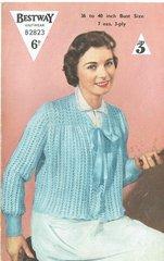 Bestway 2823 ladies bed jacket vintage knitting pattern