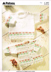 Patons 4653 baby jumper and cardigan knitting pattern