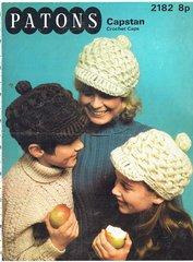 Patons 2182 ladies childrens crochet baker boy cap hat vintage crochet pattern