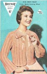 Bestway 3211 ladies lacy bedjacket vintage knitting pattern