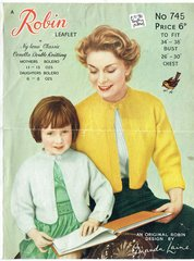 Robin 745 mother and daughter bolero vintage knitting pattern