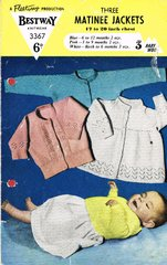 Bestway 3367 baby  matinee jacket vintage knitting pattern
