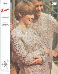 Emu 4312 ladies mens jumper vintage knitting pattern