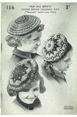 Patons 156 childrens fairisle beret vintage knitting pattern