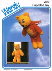 Wendy 2540 super ted vintage toy knitting pattern