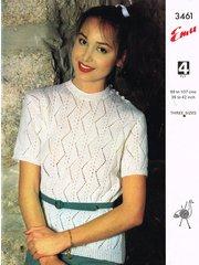 Emu 3461 ladies top vintage knitting pattern