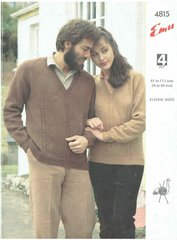 Emu 4815 ladies mens jumper vintage knitting pattern