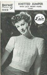 Bestway 1322 ladies jumper vintage knitting pattern