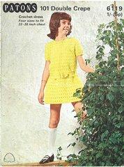 Patons 6119 girls dress vintage crochet pattern