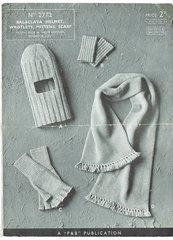 Patons 2772 helmet scarf gloves vintage knitting pattern