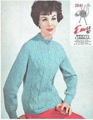 Emu 2041 ladies cardigan vintage knitting pattern