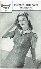 Bestway 2197 ladies pullover vintage knitting pattern